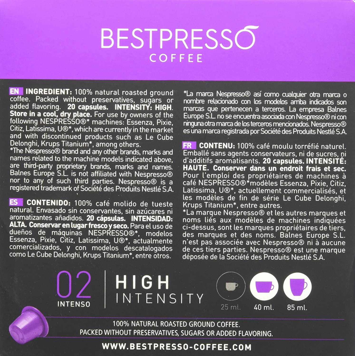 Amazon.com: 40 Bestpresso Nespresso Compatible Gourmet Coffee Capsules - Nespresso Pods Alternative: Intenso Blend Natural Espresso Flavor (High Intensity) ...