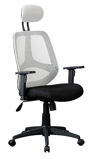 Bürostuhl ergonomisch höhenverstellbar  AMSTYLE Bürostuhl FLORENZ 2 Bezug Stoff Weiß Schreibtischstuhl ...