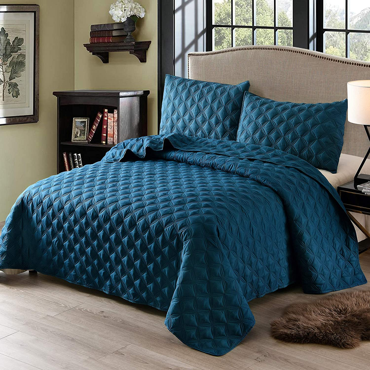 Exclusivo Mezcla 3-Piece Queen Size Quilt Set with Pillow Shams, as Bedspread/Coverlet/Bed Cover(Ellipse Blue) - Soft, Lightweight, Reversible and Hypoallergenic