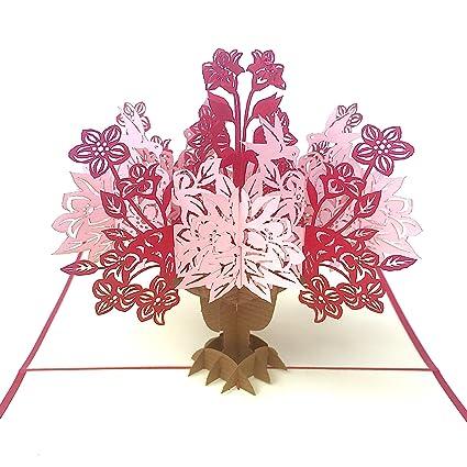 Tarjeta maravillosa de flores y pájaros de color rojo, tarjeta de ...