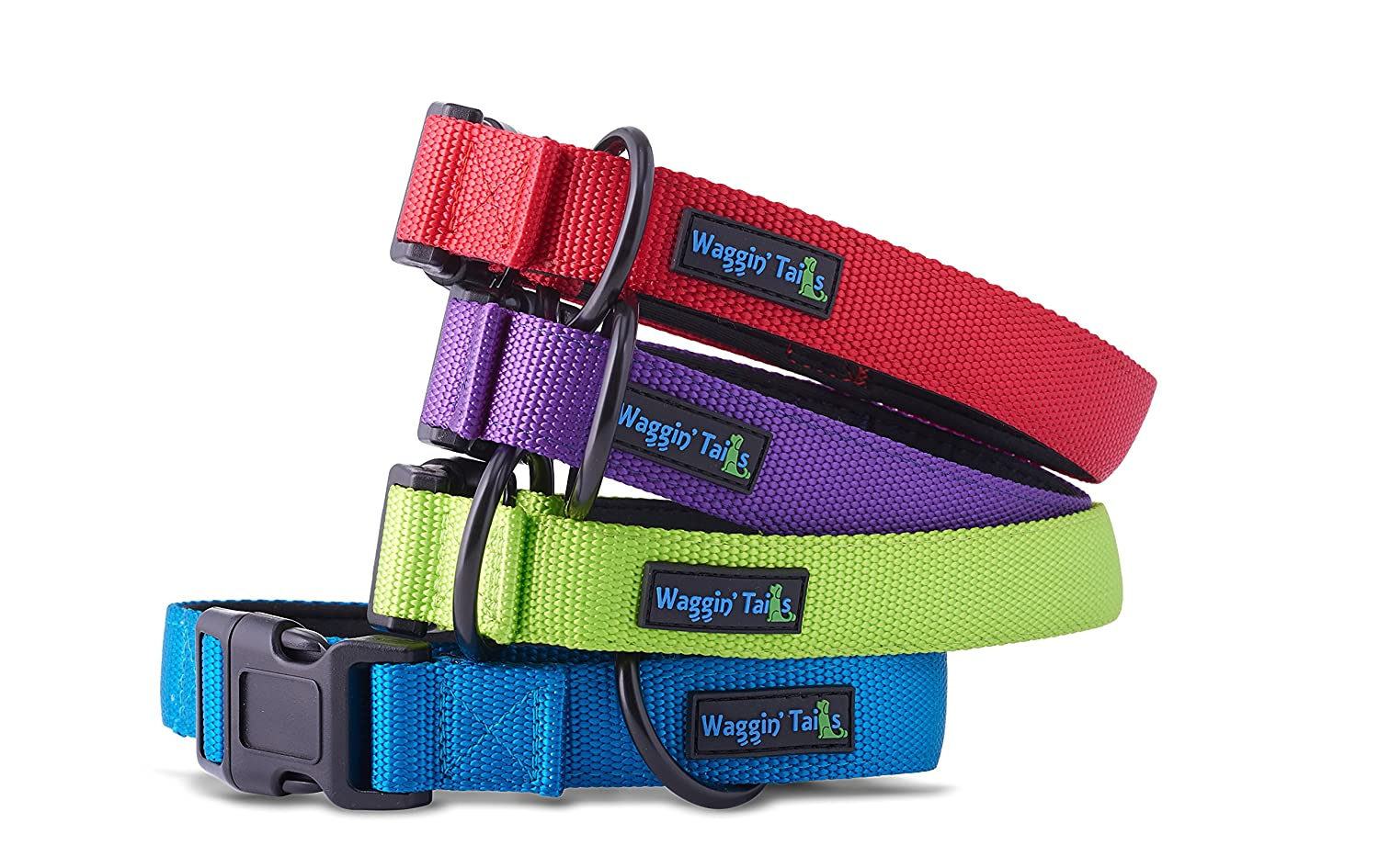"""Classic Comfort"" Dog Collar Premium Nylon Neoprene Padded Dog Collar for Small, Medium, Large or XLarge Sized Dog Comfortable Collar for your Dog by Waggin' Tails Co."