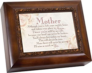 Cottage Garden Mother Left Your Earthly Home Woodgrain Embossed Ashes Bereavement Urn Box