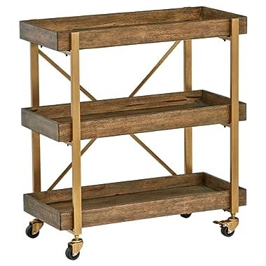 Rivet 3-Tiered Rustic Metallic Rolling Wood and Metal Bar Cart, 29.9 W, Natural