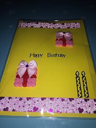 Beautiful Handmade Birthday Card High Quality Yellow Card