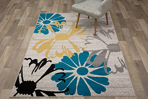 Contemporary Modern Flowers Area Rugs Cream 7 6 x 9 5