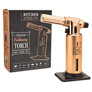 Professional Kitchen Culinary TORCH(Rose Gold Edition) Adjustable flame w/Fuel Gauge. 2700F MAX Temp. Quality 100% GUARANTEE For Cooking, Bar, Baking, Creme brulee & Crafts. Kitchen Dynamix