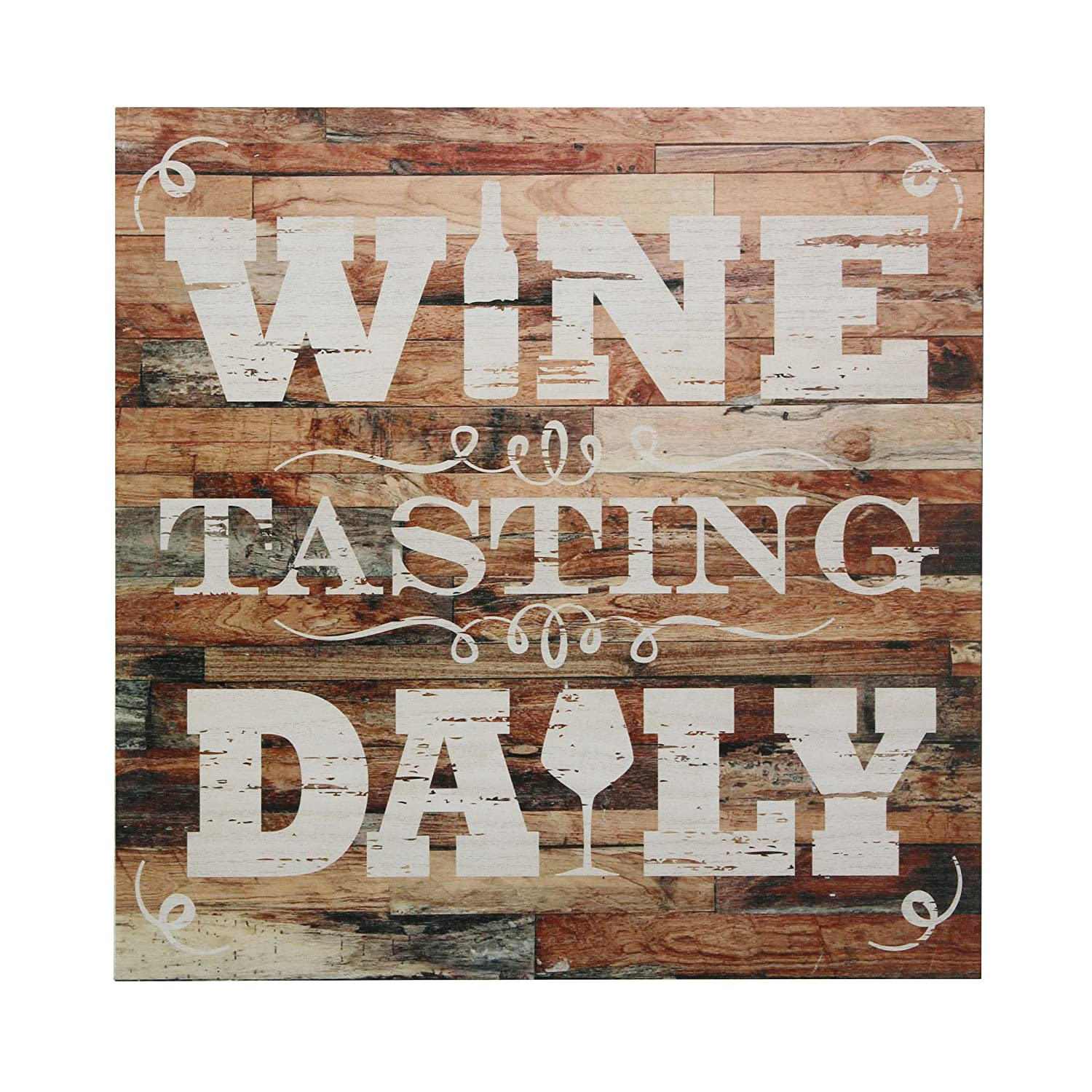 "Stonebriar Rustic 15 Inch Wine Theme Wood Wall Art with ""Wine Tasting Daily"" Saying, Decorative Wall Decor for the Living Room, Kitchen, or Dining Room"
