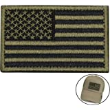 Tactical Morale Patch USA Flag Embroidered American Flag Patch Velcro Hook Backing Emblem (Black+Army Green)