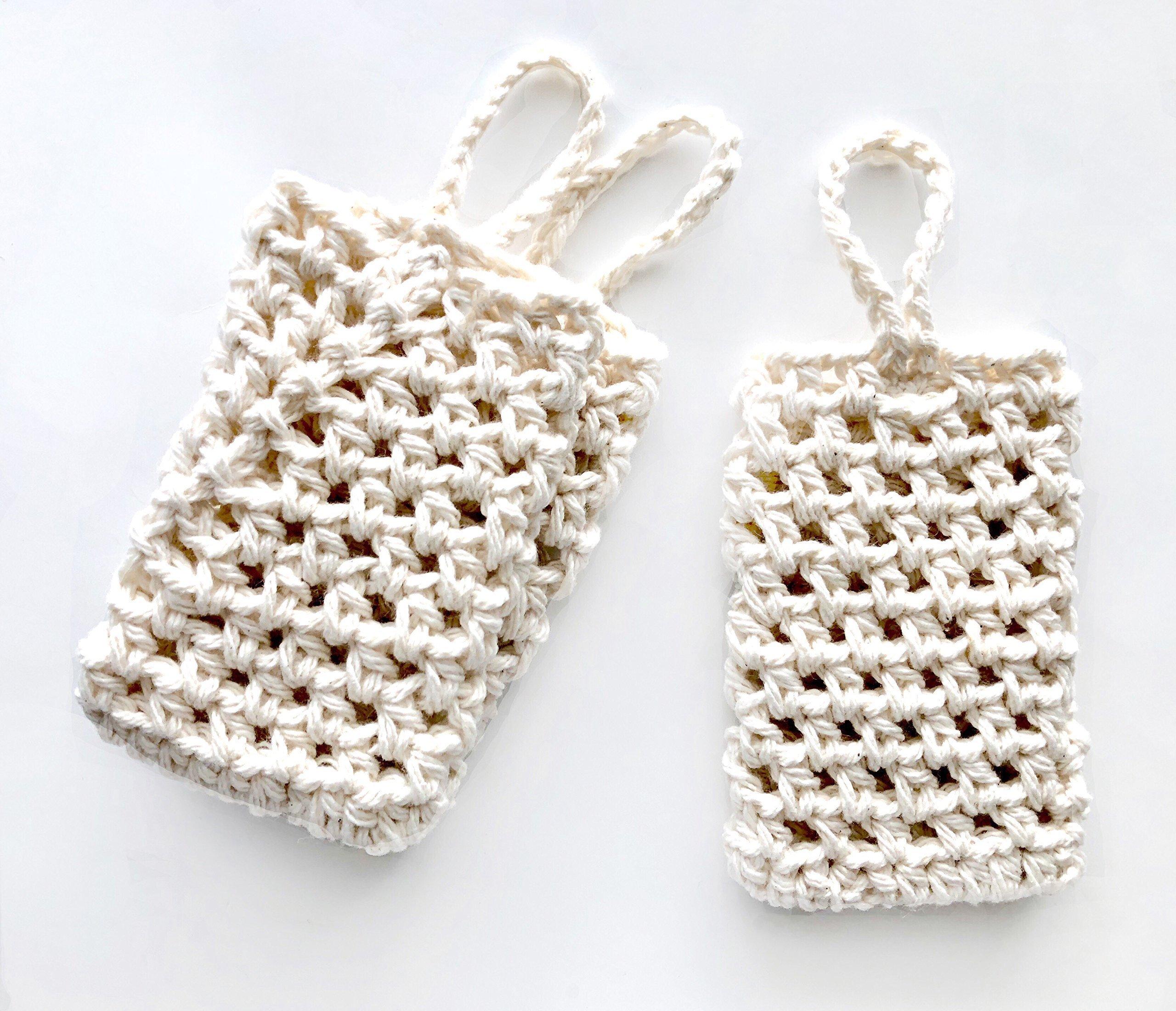 Handmade Crochet Off White Bath Soap Saver Set of 3