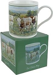 Cachet Old Landrover in Farmyard Fine Art Aquarell China Geschenk Tasse Tassen & Untertassen Tassen & Untertassen