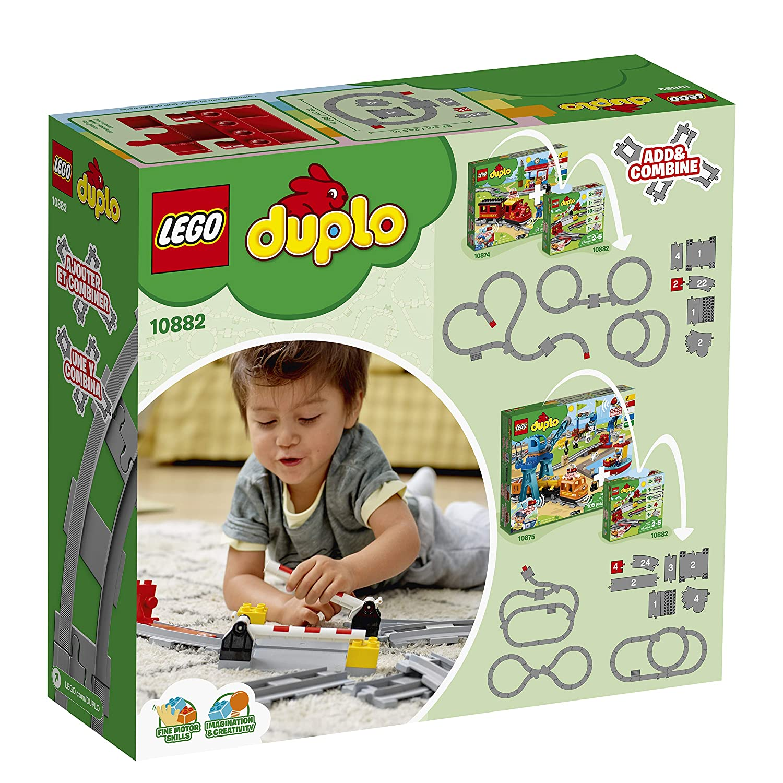Il retro della scatola di  LEGO Duplo - Binari ferroviari 10882