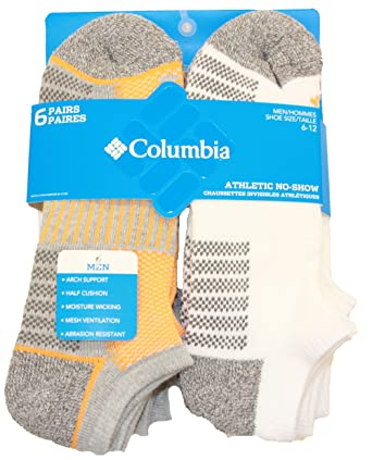 678a6cb6cd3a5 Columbia No Show Mesh Top Arch Support Poly-Blend Socks 6 Pair, M10-