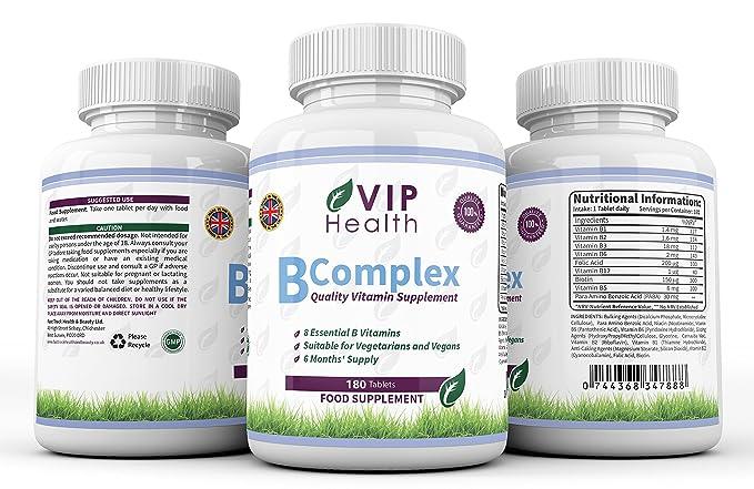Vitamina B Compleja 180 Comprimidos (6 Meses de Suministro) por VIP Health - Todas las Ocho Vitaminas B en un Comprimido B1, B2, B3, B5, B6, B12, ...