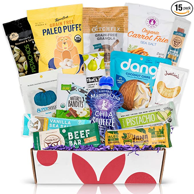 PALEO Diet Snacks Gift Basket: Mix of Whole Foods Protein Bars, Grain Free Granola, Cookies, Jerky Meat Sticks, Fruit & Nut Snacks Sampler Box best easter baskets