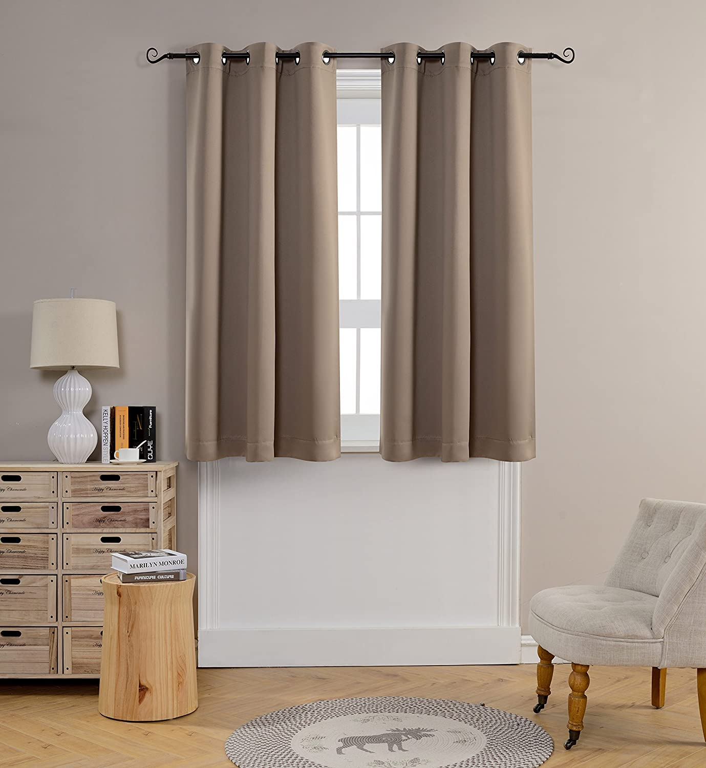 Mysky Home Grommet top Thermal Insulated Window Blackout Curtain for Bedroom Taupe