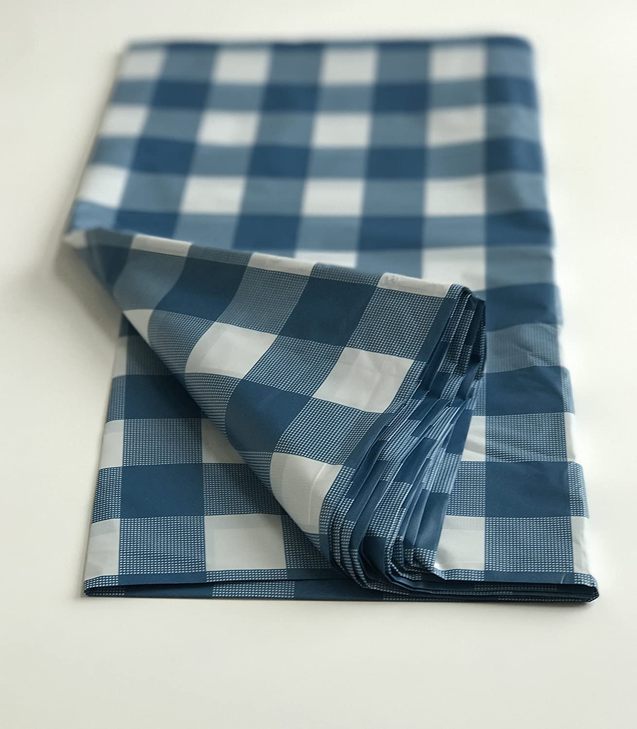12, Blue Royal 54 X 108 Gingham Checkerboard Disposable Rectangular Plastic Table Cover