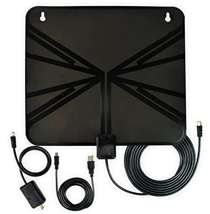 HDTV Antenna, Indoor Amplified HDTV Antenna 50 Mile Range with Detachable Amplifier Signal Booster and
