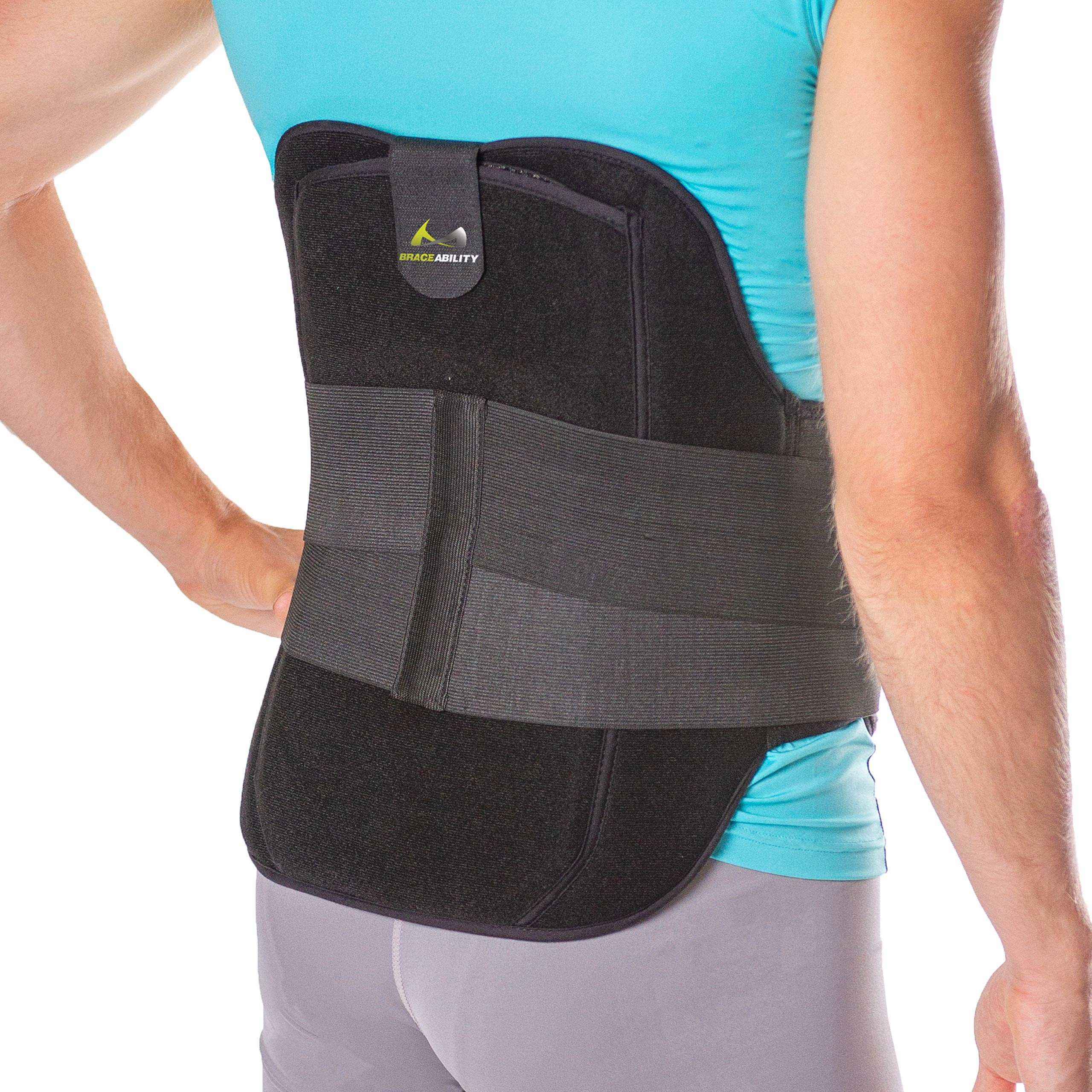 BraceAbility LSO Back Brace for Herniated, Degenerative & Bulging Disc Pain Relief, Sciatica, Spine Stenosis | Medical Lumbar Support Device for Post Surgery & Fractures with Hot/Cold Therapy (L) by BraceAbility