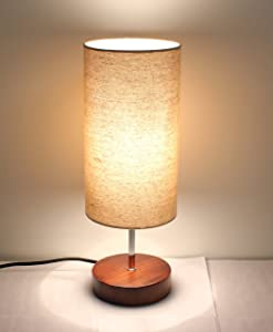 """17""""H Mini Sandalwood Living Room Indoor Table Lamp Natural Solid Wood Base (Round)"""