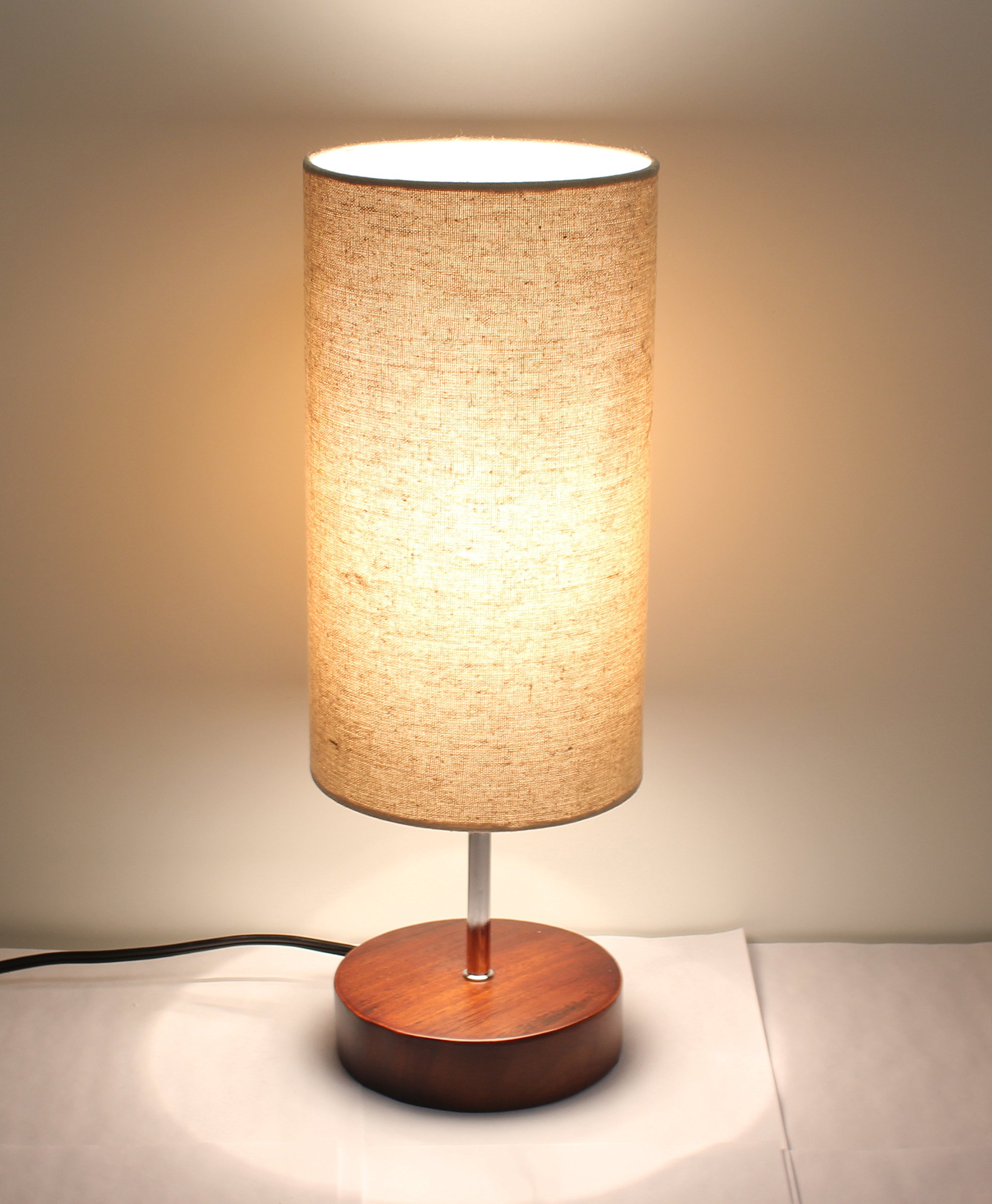 17''H Mini Sandalwood Living Room Indoor Table Lamp Natural Solid Wood Base (Round)