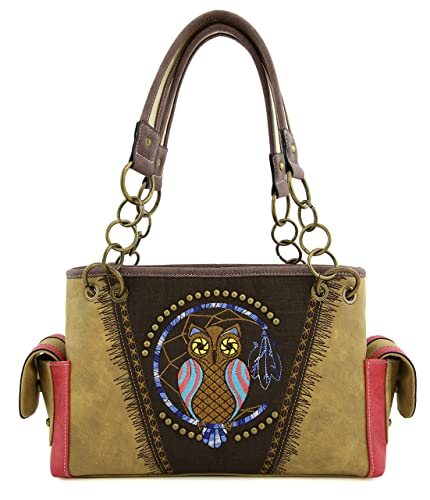 78191be5f15 Western Owl Handbag Purses Tote Bag Shoulder Bag Rhinestone and Studded  with Back Side Concealed Saddle