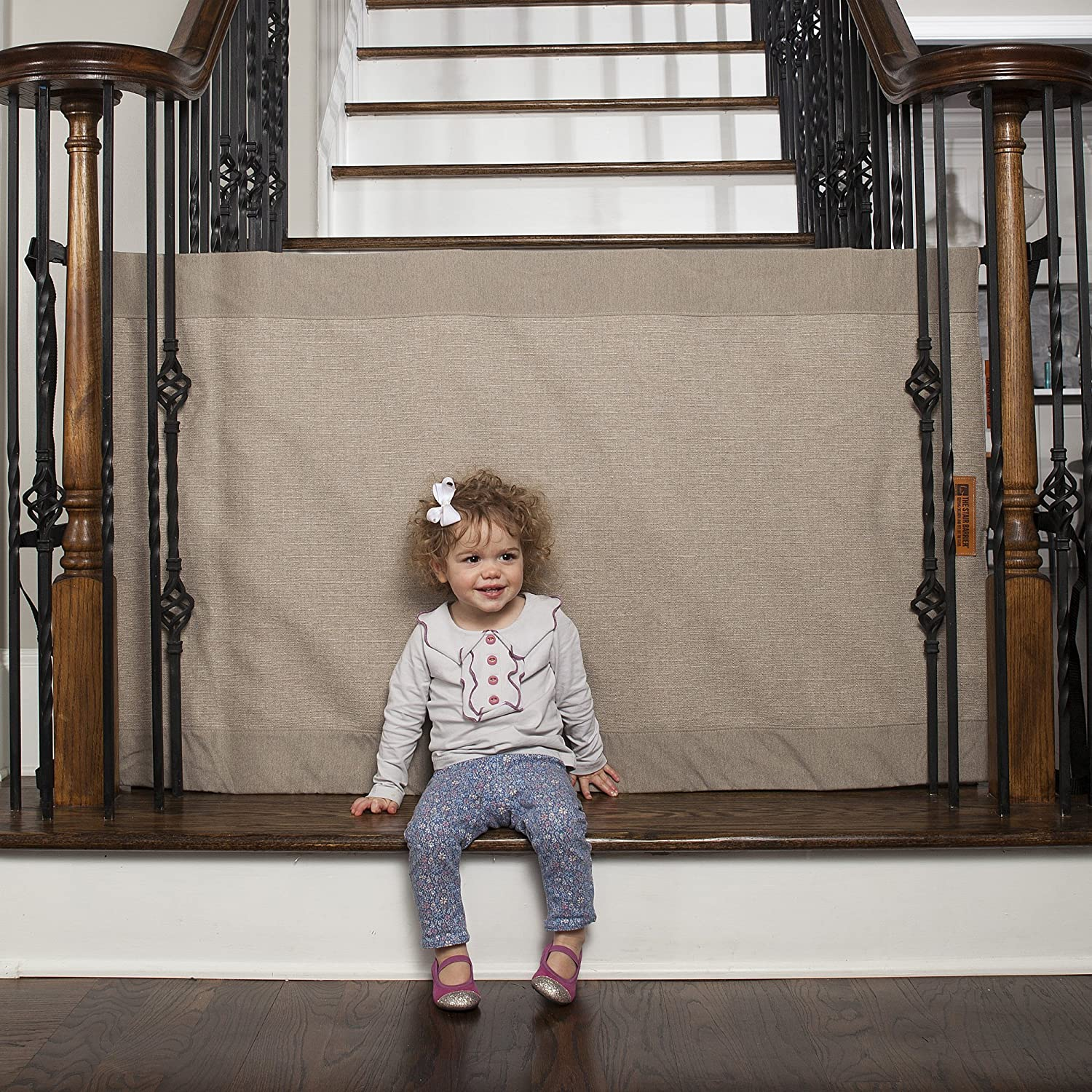"""Baby Gate Banister to Banister Fabric Stair Barrier Black Tan Pet Safety 43/"""" 52/"""""""