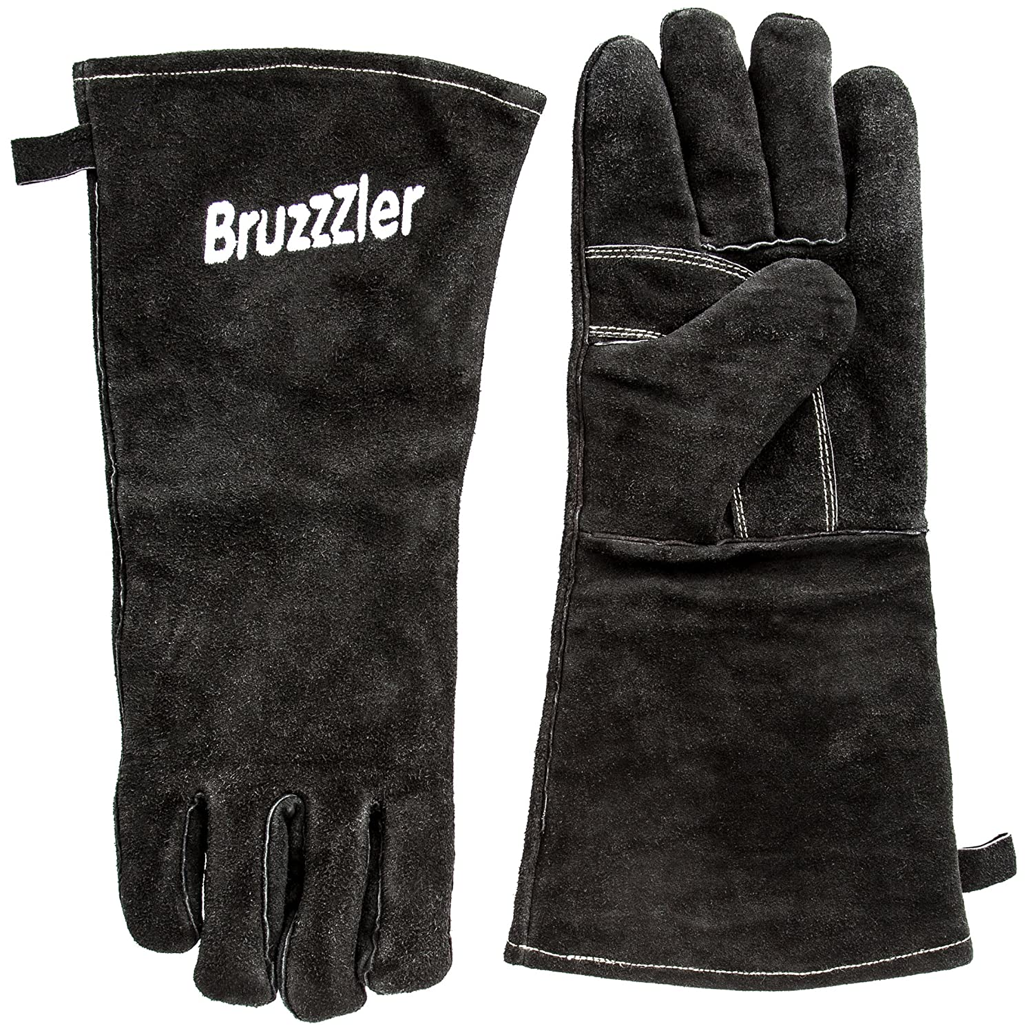 Bruzzzler grill gloves fireproof/grill leather gloves, long, in universal size, heat-resistant glove for BBQ, fireplace, oven, gas grill and charcoal grill workmanship 200100001081
