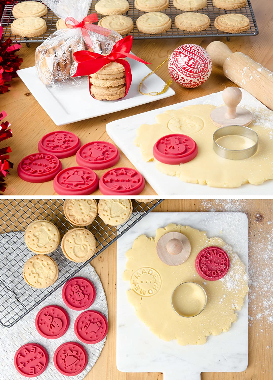 Hygienic One Piece Design High Heat Resistant to 480/°F Stamps include Homemade StarPack Christmas Cookie Stamps Set of 6 1 Round Cookie Cutter 1 Wooden Press Eat Me and Snowman