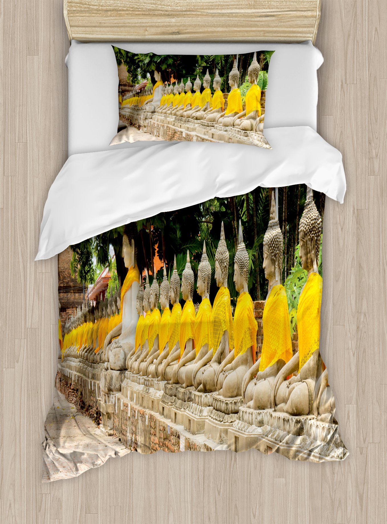 Ambesonne Asian Duvet Cover Set Twin Size, Picture of Aligned Religious Statues in Thailand Traditional Thai Design, Decorative 2 Piece Bedding Set with 1 Pillow Sham, Cream Yellow Green by Ambesonne