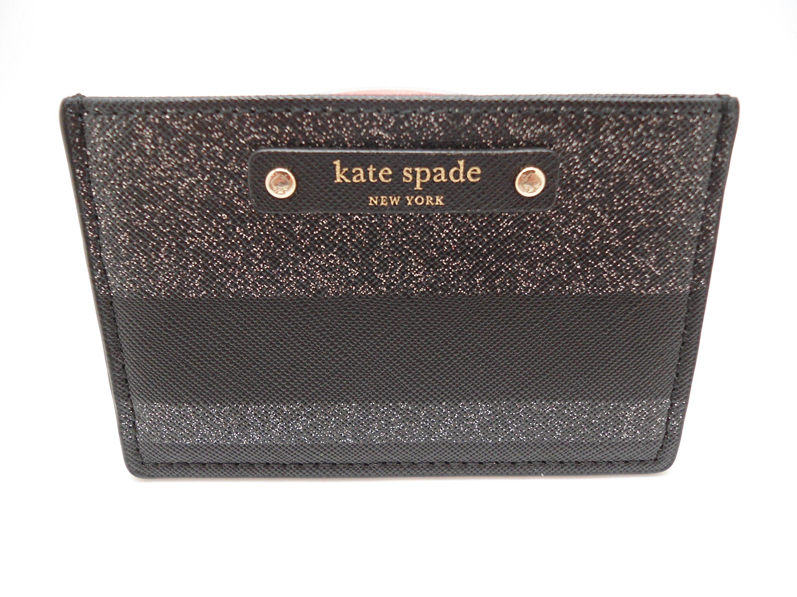 Kate Spade New York Haven Lane Graham Card Case Wallet Black /Glitter Stripes