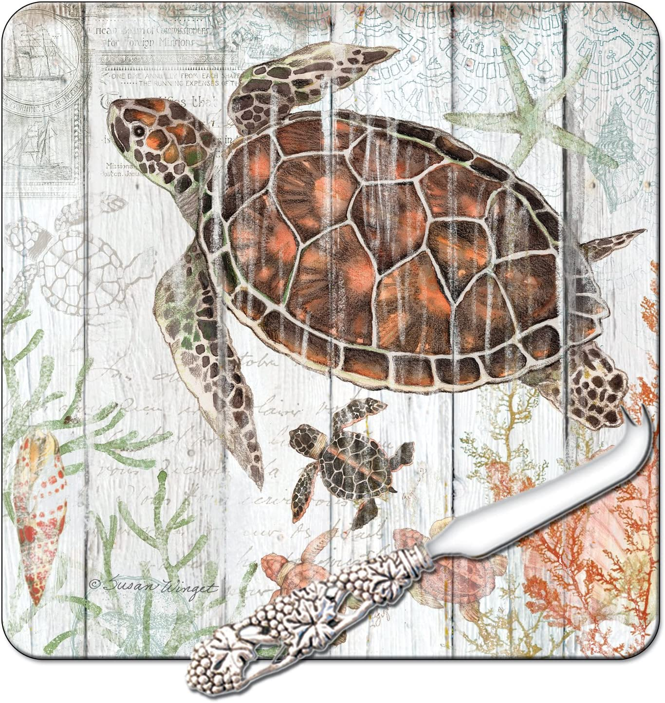 CounterArt 8インチガラスCheese Serving Board withチーズナイフ、Turtles、Sealife