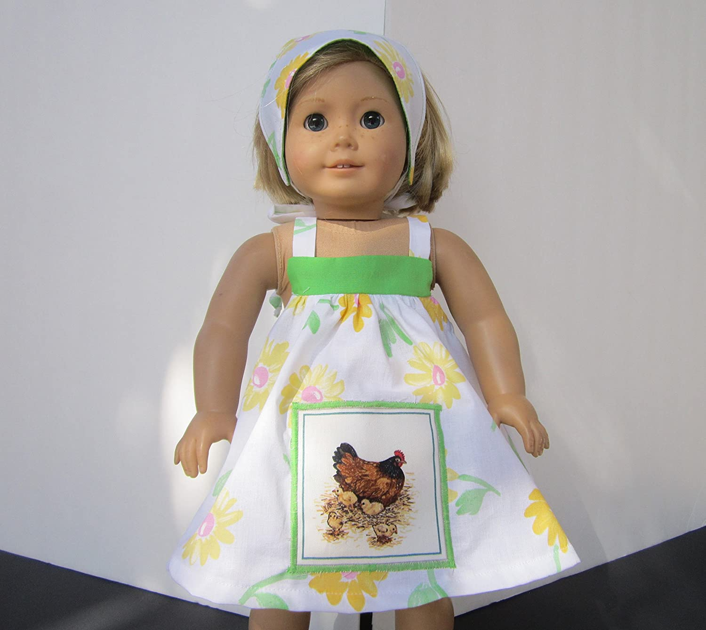 Reversible Head Scarf fits American Girl 4H Farmgirl Mama /& Baby Chicken Sundress