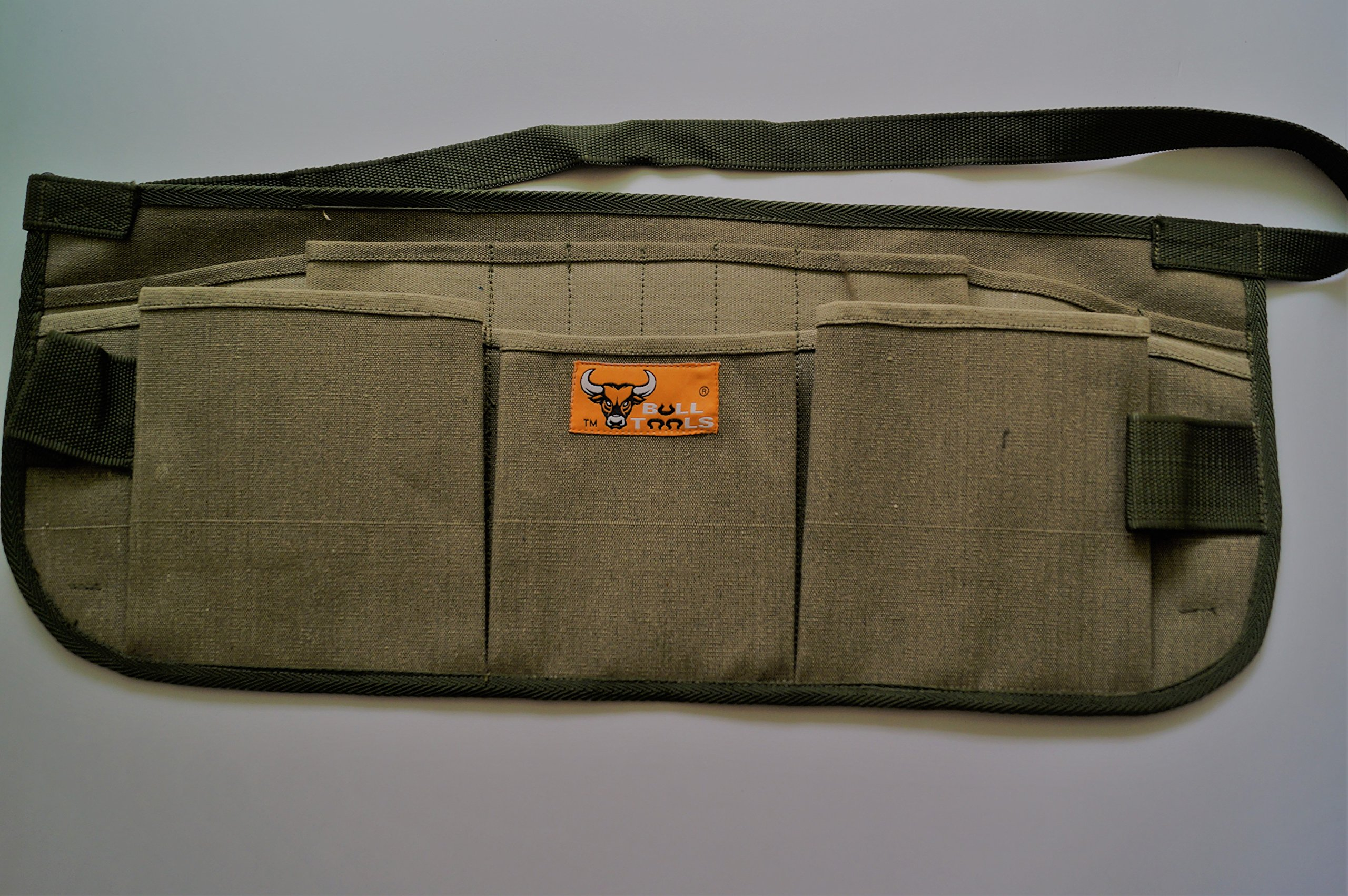 Bull Tools BT 1004 Heavy Weight 15 Oz. Dyed Duck Cotton Canvas Utility Smart Tool Waist Apron 13 Pocket Washed Olive Drab