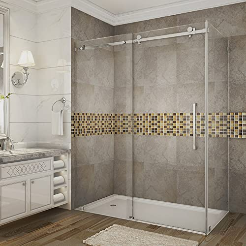 Aston Moselle 60 x 33.4375 x 75 Completely Frameless Sliding Shower Door Enclosure, Polished Chrome