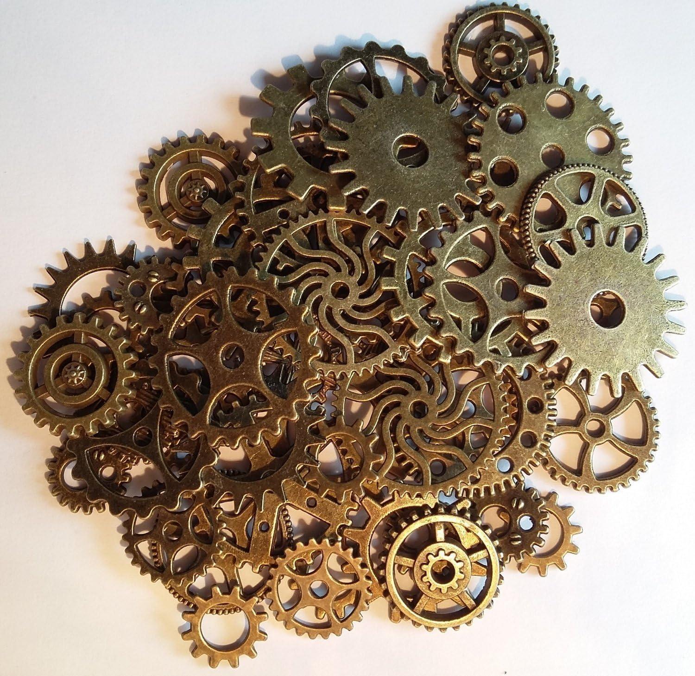Hilai Steampunk Zahnräder, Gothic, Anhänger, bronzefarben, 50 Stück