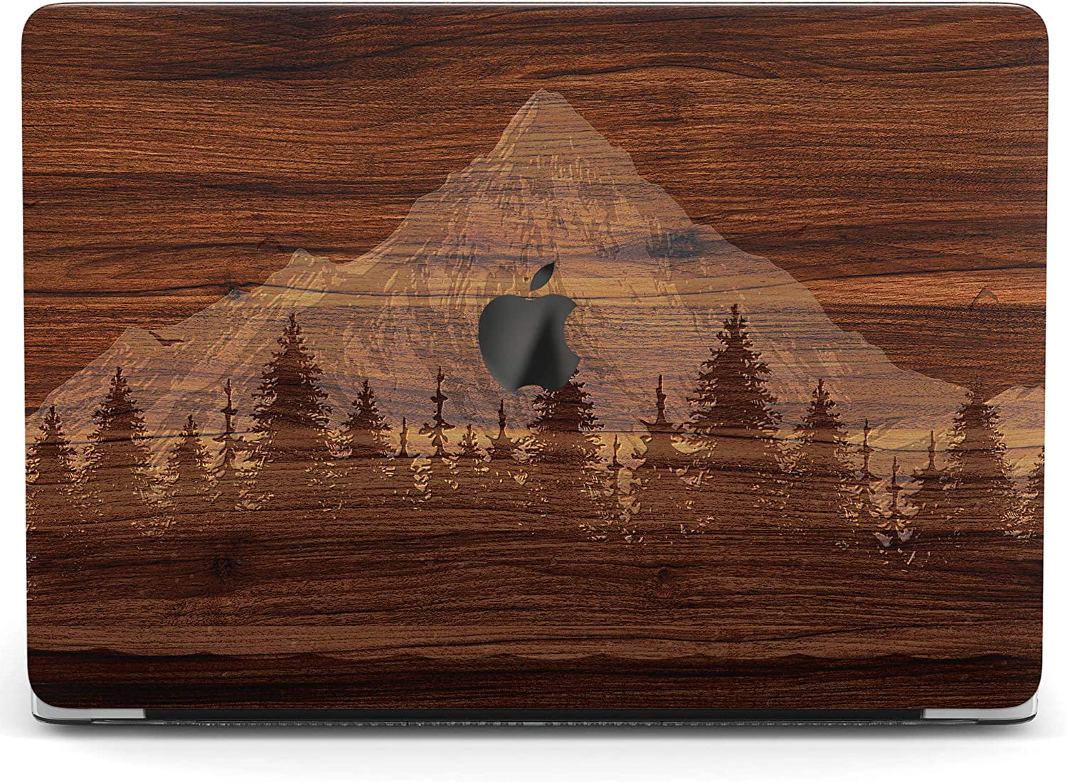 Wonder Wild Case for MacBook Air 13 inch Pro 15 2019 2018 Retina 12 11 Apple Hard Mac Protective Cover Touch Bar 2017 2016 2020 Plastic Laptop Print Wooden Mountain Grain Forest Barn Nature Texture
