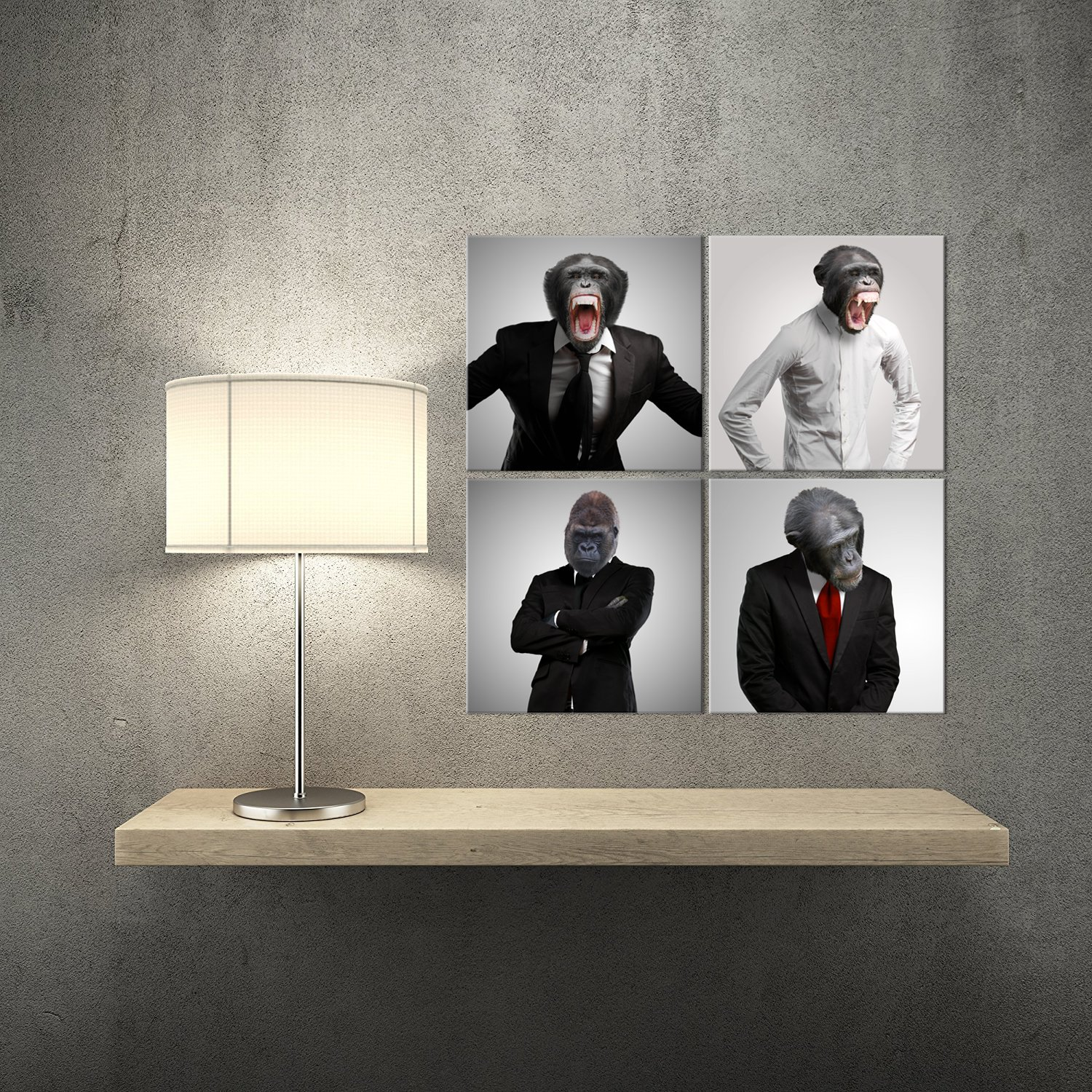 Amazon.com: Kolo Wall Art Funny Gorilla White Collar imagen ...