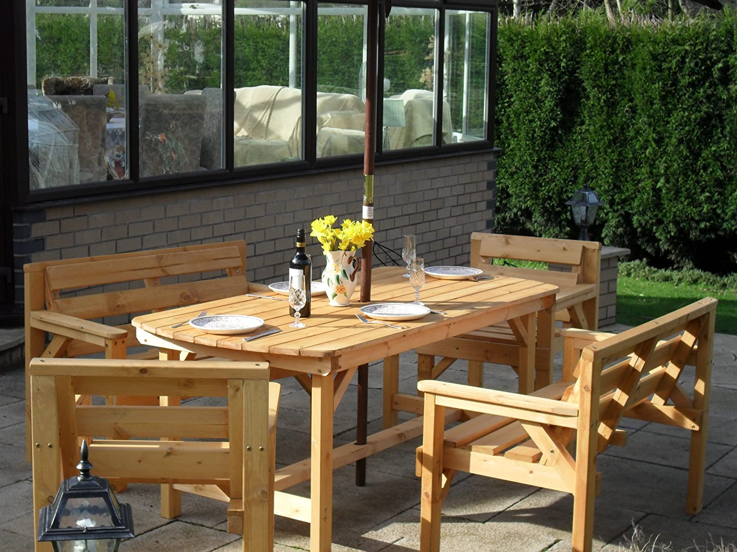 5 Piece Wooden Garden Furniture Set, FULLY ASSEMBLED, UK Manufactured:  Amazon.co.uk: Garden U0026 Outdoors