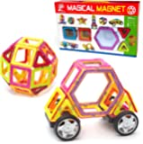 Magnetic Tile Building Set - 40 Large Pieces with Wheels, Educational Toys that Teach Colors, Shapes, and Patterns; Build Cars and Trucks for Boys or Castles for Girls, Fun for Toddlers to Teens