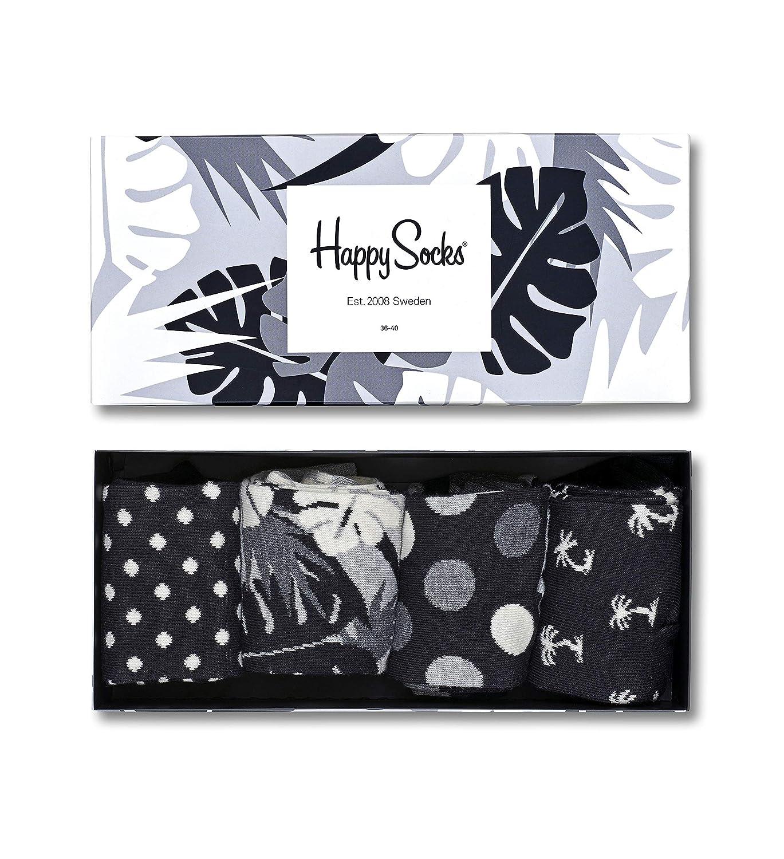 Happy Socks Black & White Gift Box, Calcetines casual para Mujer (Pack de 4)