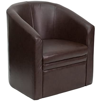 Genial Flash Furniture Brown Leather Barrel Shaped Guest Chair