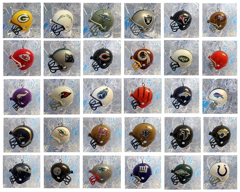 NFL FOOTBALL ORNAMENT SET of 32 MINI HELMET CHRISTMAS ORNAMENTS ...