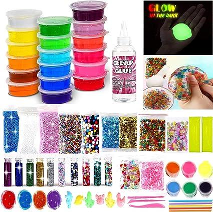 Ultimate Glow in the Dark Glitter Slime Making... DIY Slime Kit for Girls Boys