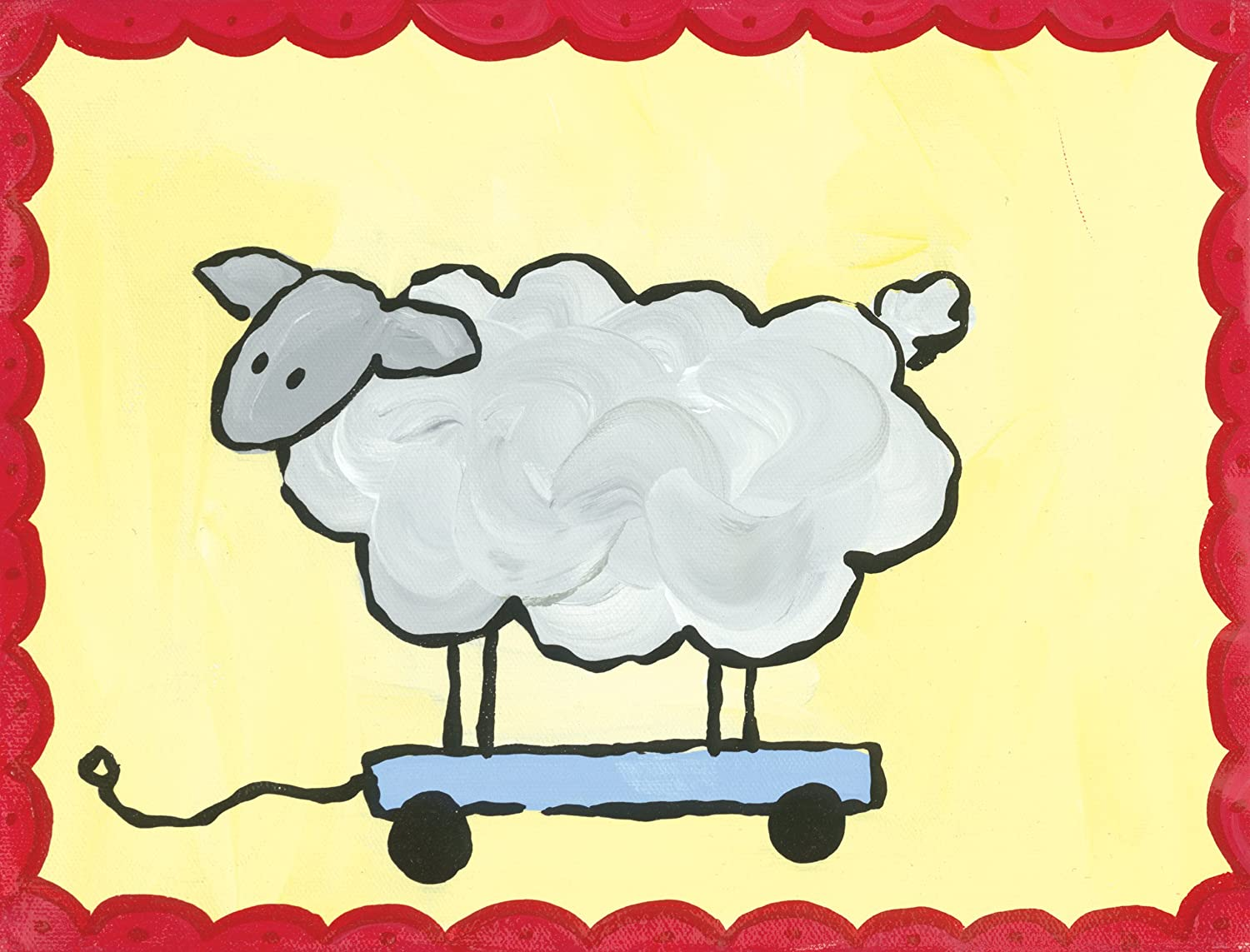Amazon.com: Oopsy Daisy Pull Along Sheep Stretched Canvas Art by ...