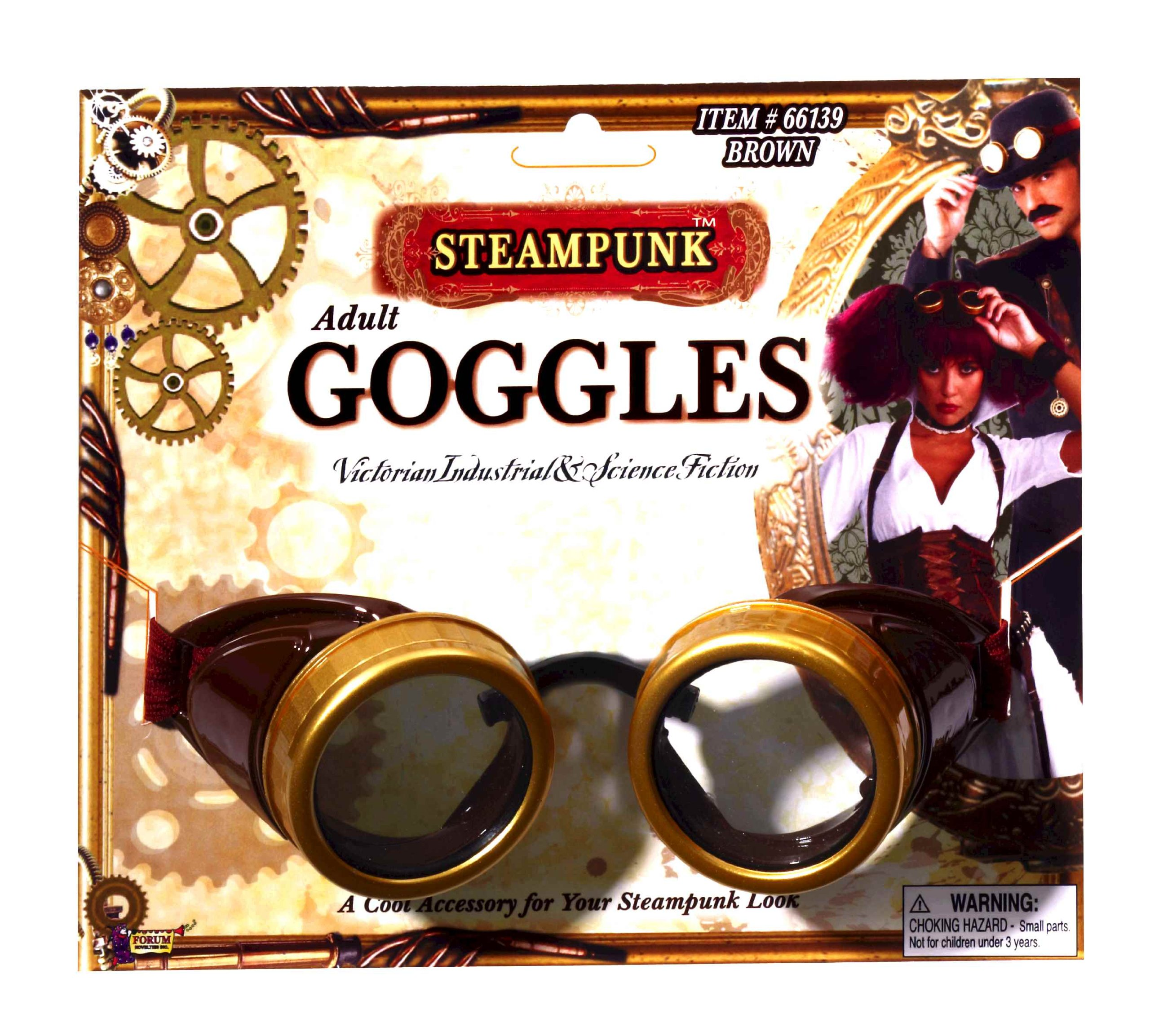 Forum Novelties Steampunk Costume Goggles, Brown, One Size