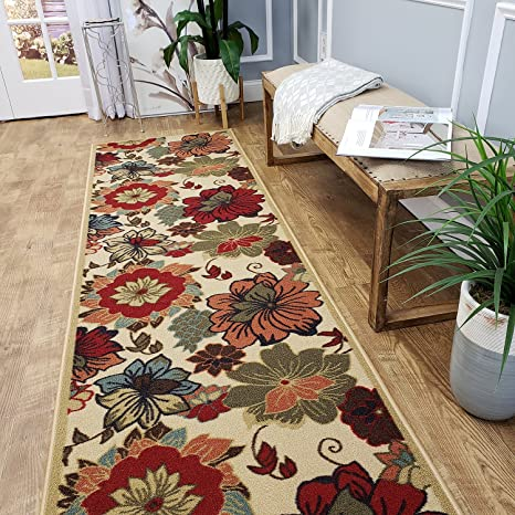 Custom Cut 22-inch Wide by 13-feet Long Runner, Multicolor Floral Non Slip,  Non-Skid, Rubber Backed Stair, Hallway, Kitchen, Carpet Runner Rug - ...