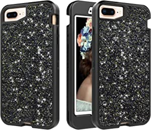 Solomo Compatible with iPhone 8 Plus/ 7 Plus Case, Luxury Women Glitter Heavy Duty Hybrid Sturdy Armor Defender High Impact Shockproof Protective Cover Bling Case for iPhone 8 Plus/7 Plus (Black)