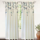 "DriftAway Isabella Faux Silk Embroidered Window Curtain, Embroidered Crafted Flower, Lined with Thermal Fabric, Single Panel, 50""x96""Ivory/Blue"
