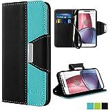 Moto G4 Case, Moto G4 Plus Case - Vakoo [Book Style] Premium-PU Leather Wallet Folio Mobile Phone Protector Cover Flip Case for Motorola Moto G4 / G4 Plus (Blue Black)