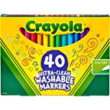 Crayola Ultra-Clean Fineline Markers, 40 Colours, Super Washable, Detail Drawing, pens, Colouring, Fun, Gifts, Education, Project, booklist, Classroom, School, Non Toxic